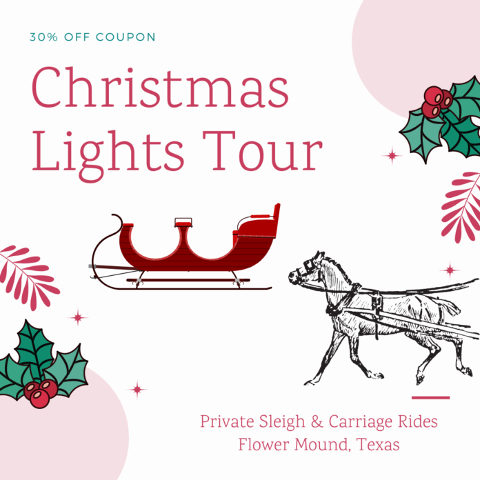 Discounted private carriage & sleigh rides during the holiday season in the Dallas and Fort Worth area
