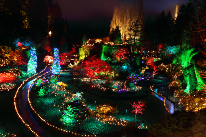 Private tour of Victoria, BC during the Christmas season, see Butchard Gardens holiday decorations