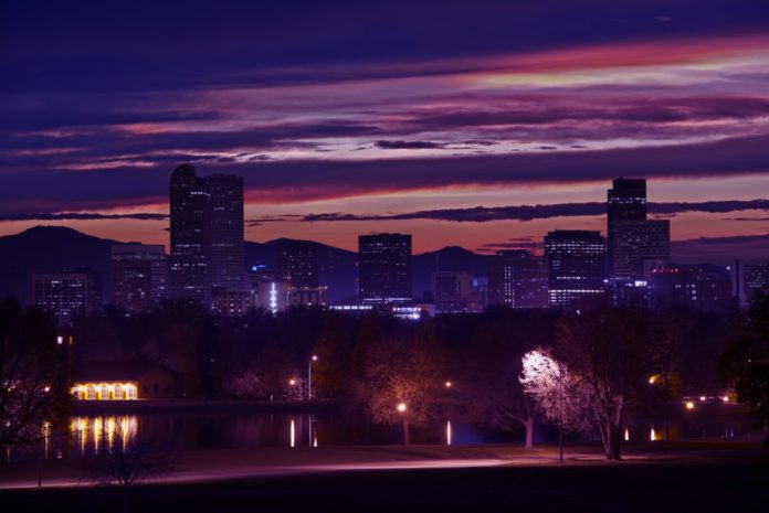 Downtown Denver Skyline. Beautiful Sunset in Denver, Colorado, United States. Learn how to win a free trip here.