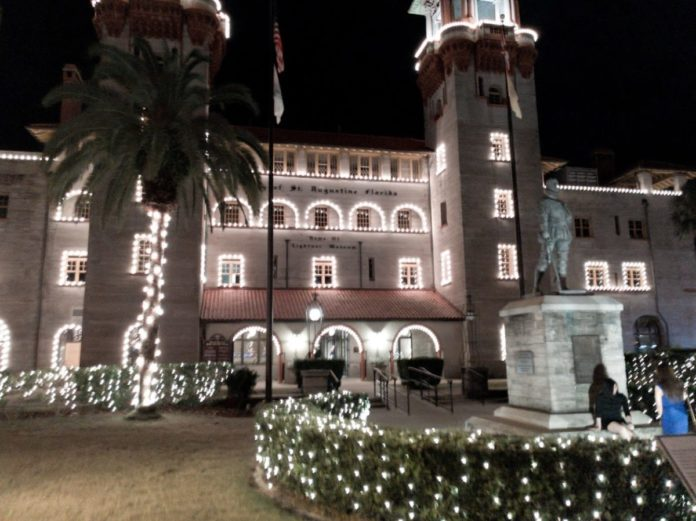 Experience St. Augustine's Nights of Lights on Santa's Red Express with a discount ticket