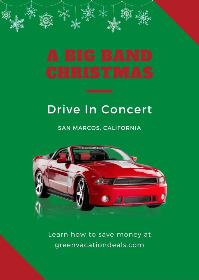 Discounted price for A Big Band Christmas a holiday music drive-in concert in San Marcos, California