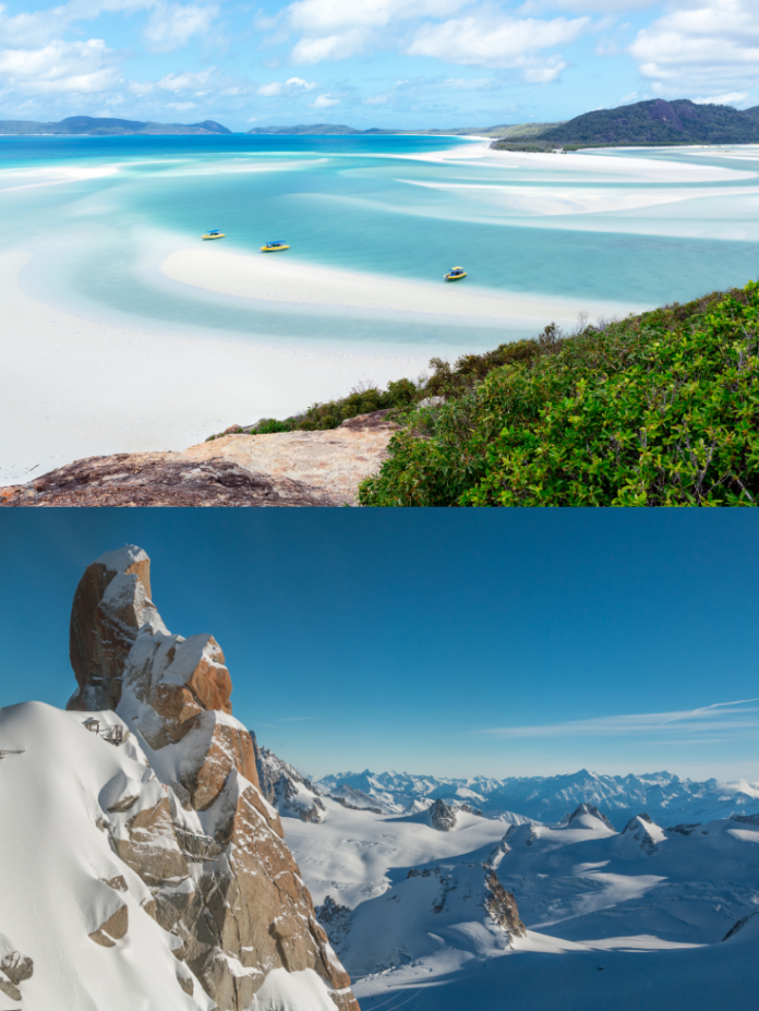 A picture of Whitsundays in Australia & the French Alps. Have your choice of an island or mountain vacation with this contest