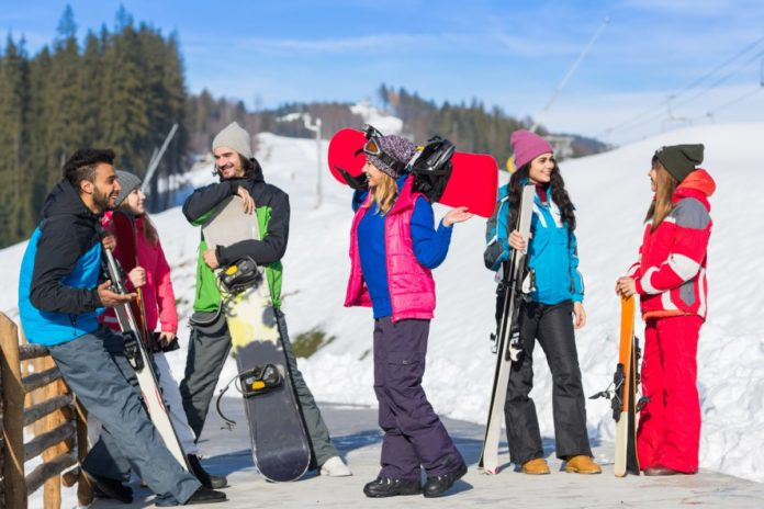Group Of People Ski And Snowboard Resort Winter Snow Mountain Cheerful Happy Smiling Friends Talking Holiday Extreme Sport Vacation. Learn how to ski & snowboard with free equipment.