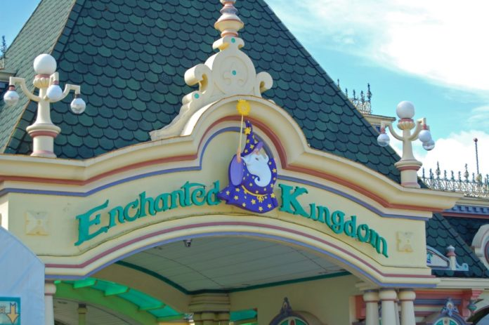 Enchanted Kingdom theme park arch facade at daytime in Santa Rosa, Laguna, Philippines. Save money with a coupon for admission.