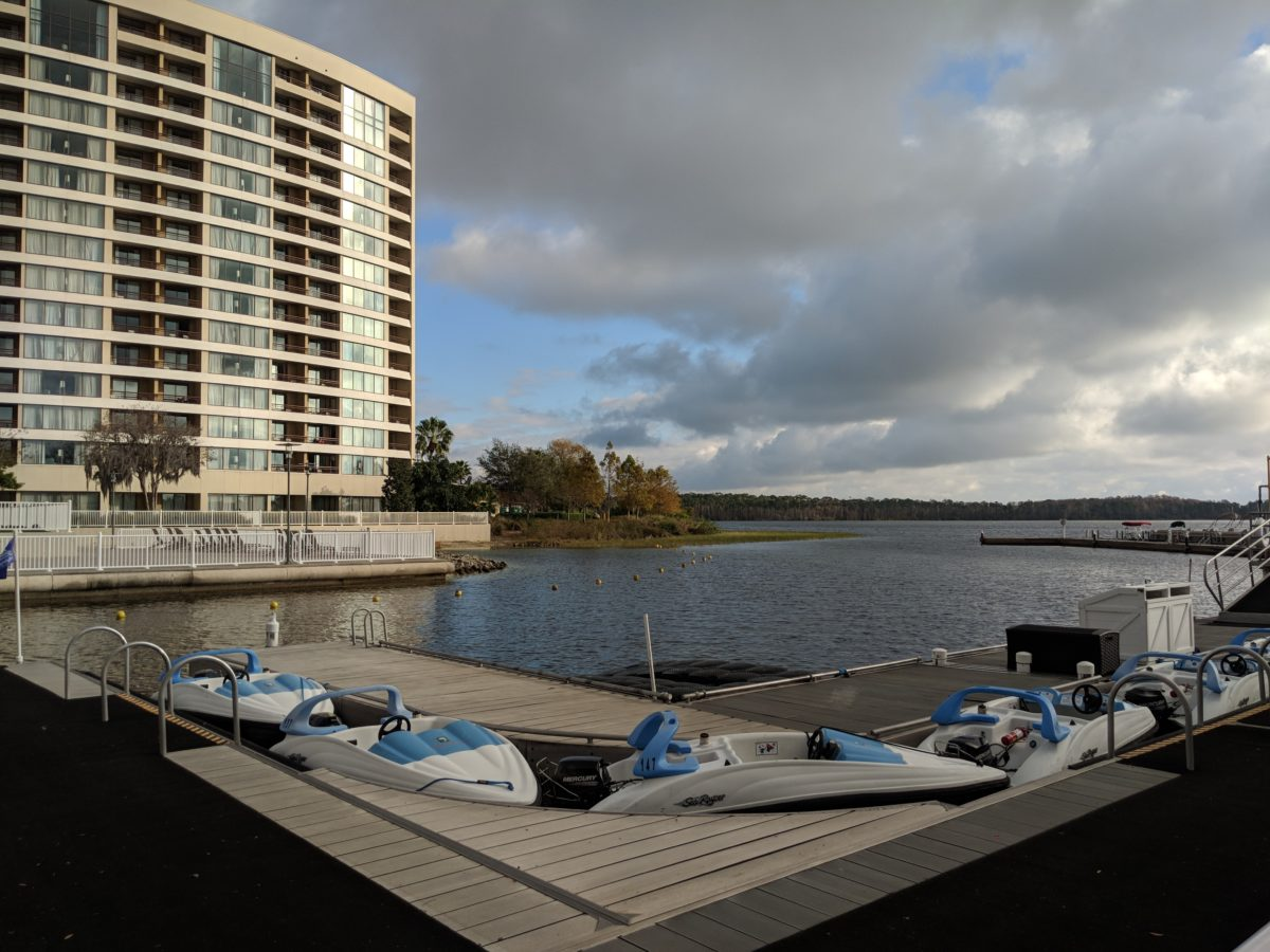 You can rent a boat & do other recreational activities at the Contemporary hotel at Disney World