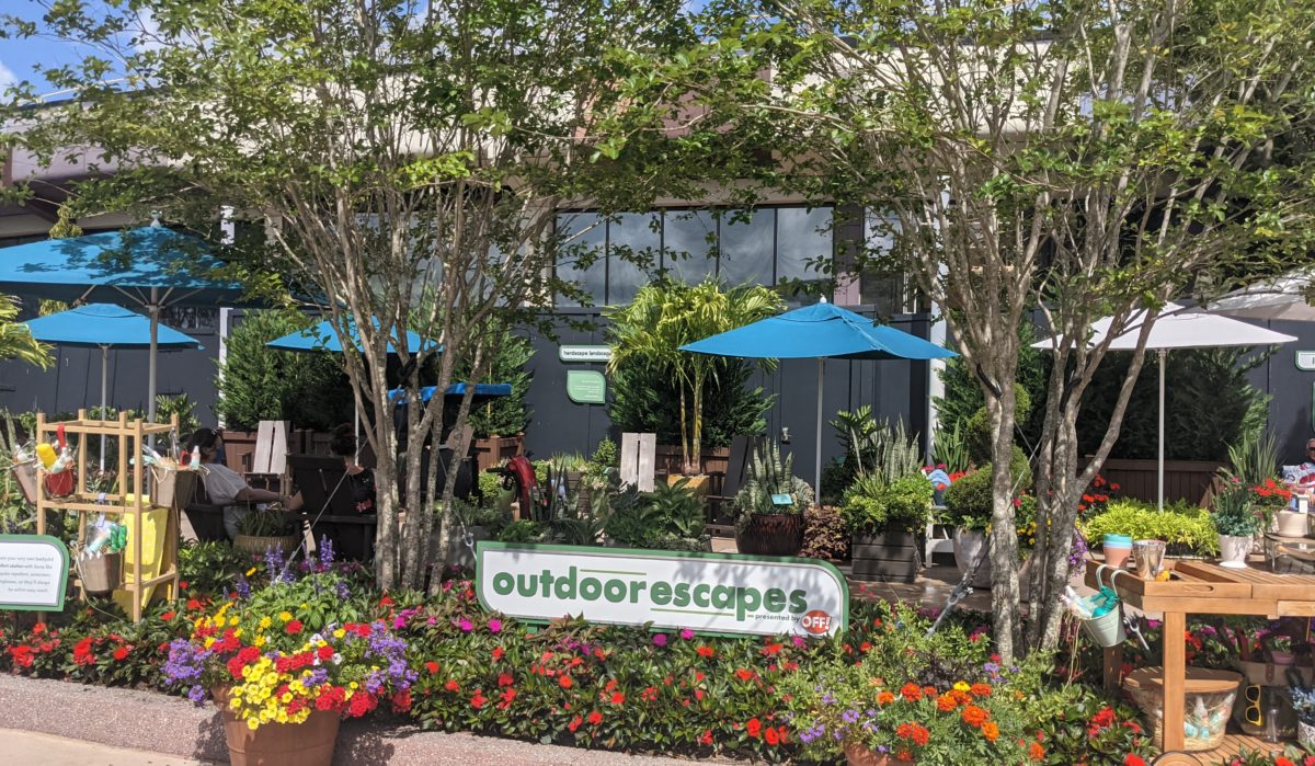 Relax at the outdoor escapes exhibit in the Future World East at Epcot at Disney World's Taste of Flower & Garden Festival