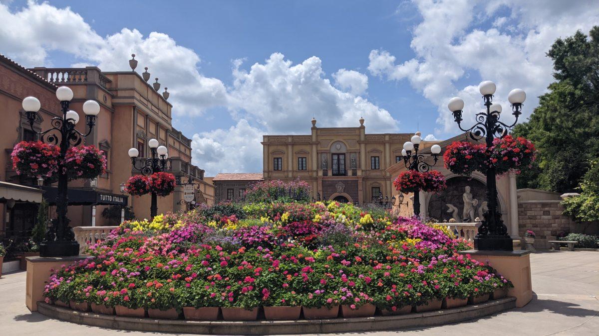 Disney World's Taste of Epcot International Flower & Garden Festival has a great garden display in the Italian Pavilion of Epcot