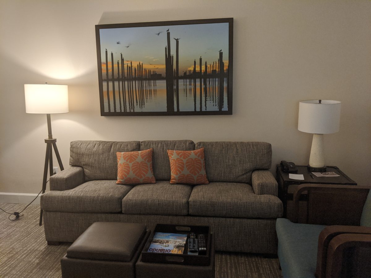 Suite den at Sheraton Vistana hotel in Orlando, Florida near SeaWorld, Disney World