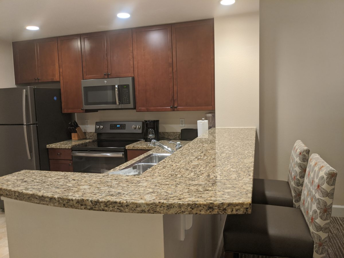 2-bedrrom suites at Sheraton Vistana Village on International Drive in Orlando has a full kitchen & counter