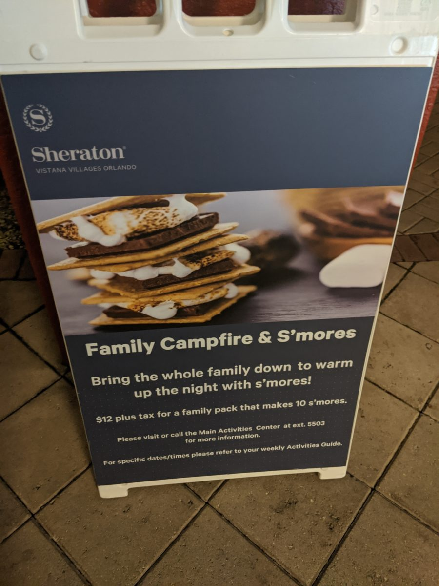 Have a campfire with S'mores at Sheraton Vistana Orlando Resort