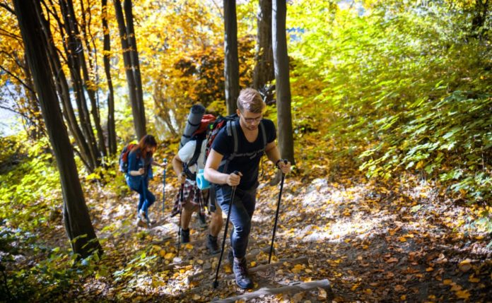 Group of friends hiking through the mountain path, trekking trail. Learn how to get outdoor apparel & gear for free.