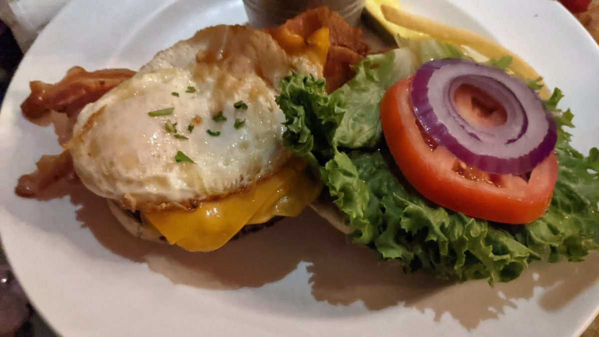 The bistro burger at Blue Talon Bistro in Williamsburg is a great blend of dinner and breakfast