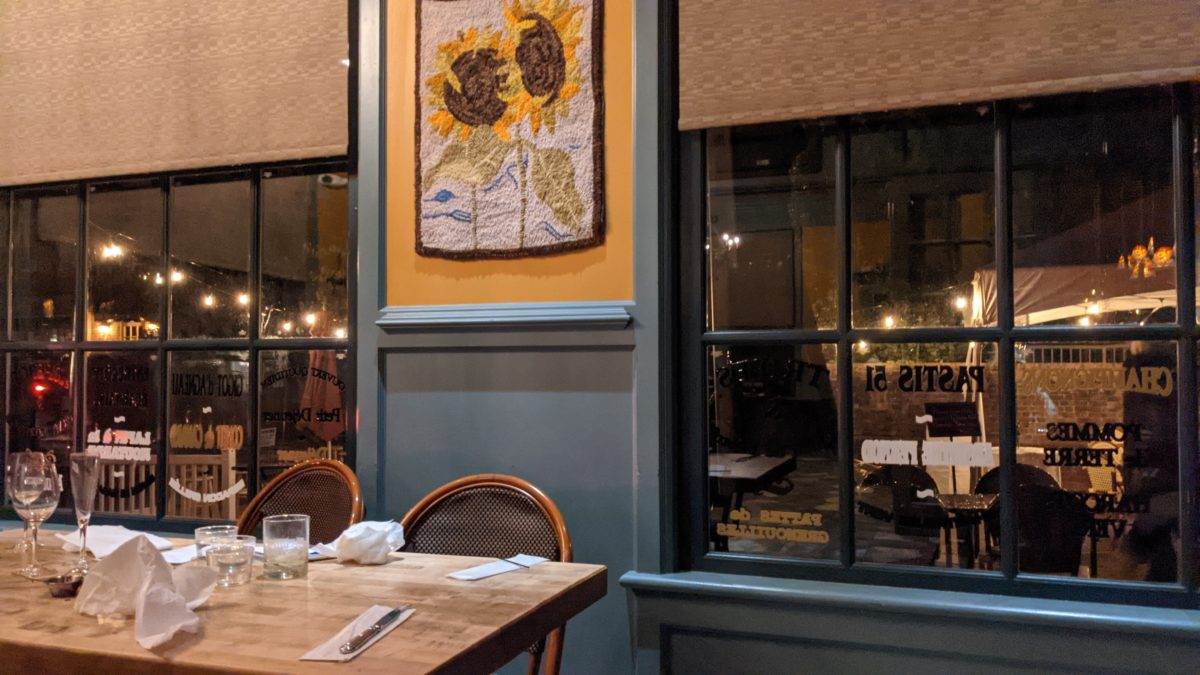 You can take the bus from Colonial Williamsburg visitor center to the Blue Talon Bistro a French restaurant