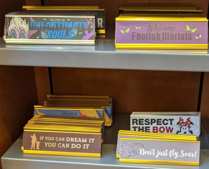 Best Disney nameplates with quotes, ride sayings (from Tower of Terror, Rock N Roller Coaster, Carousel of Progress)