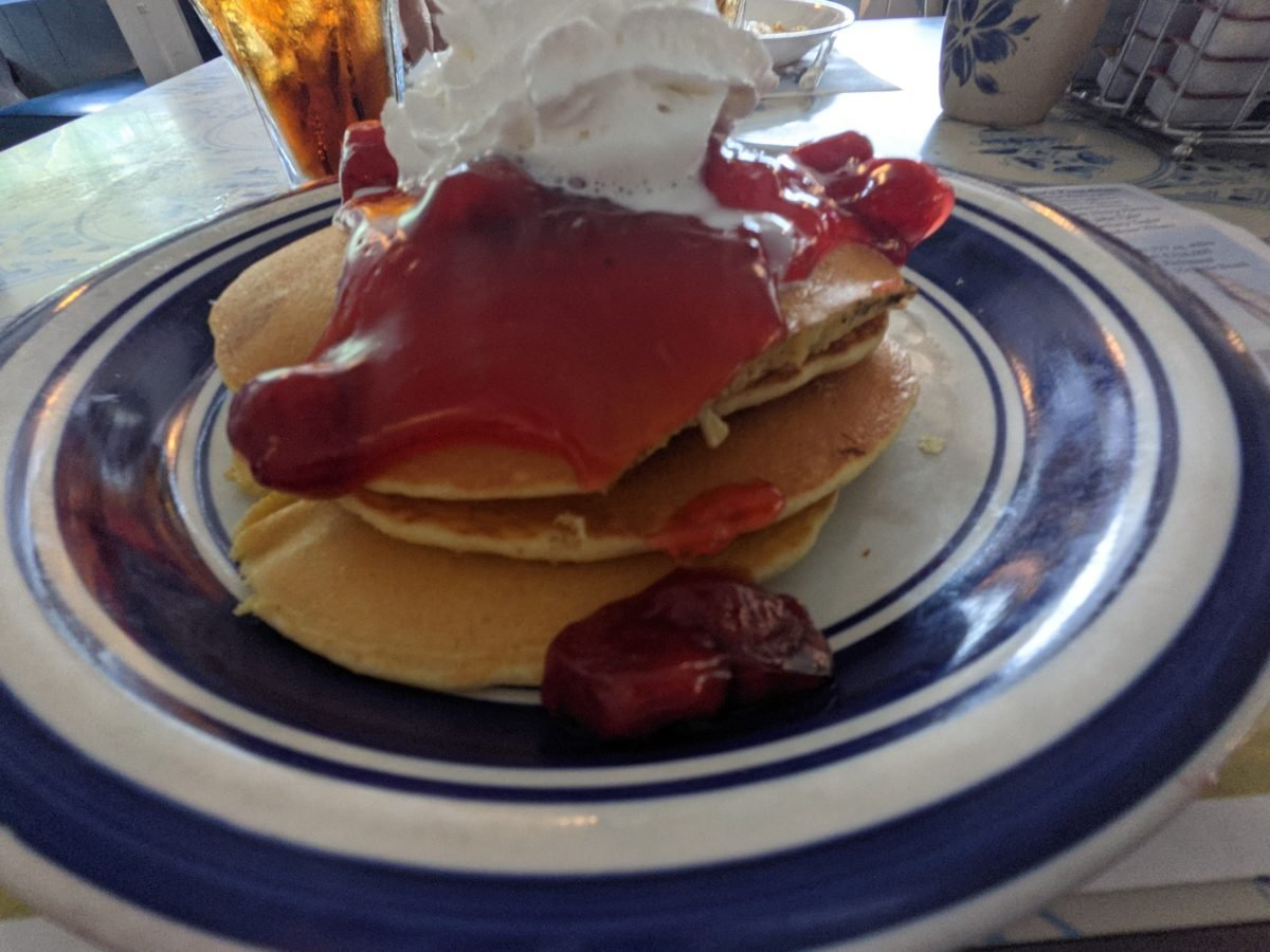 A picture of the strawberry pancake entree available at Mama Steve's in Williamsburg, Virginia