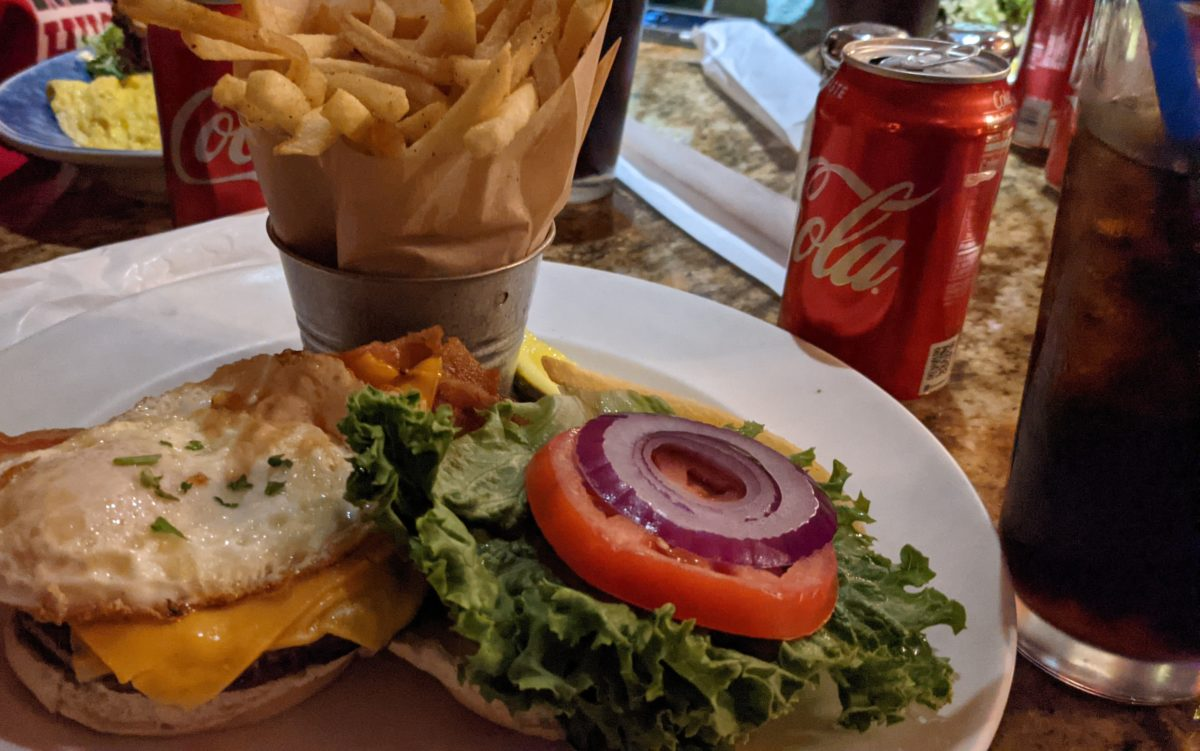 Burger, fries, and a coke are great comfort food you can get at Blue Talon Bistro in Williamsburg, VA
