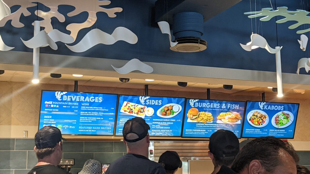 A picture of where you order and pick up your food at Lakeside Grill in SeaWorld theme park in Orlando, FL