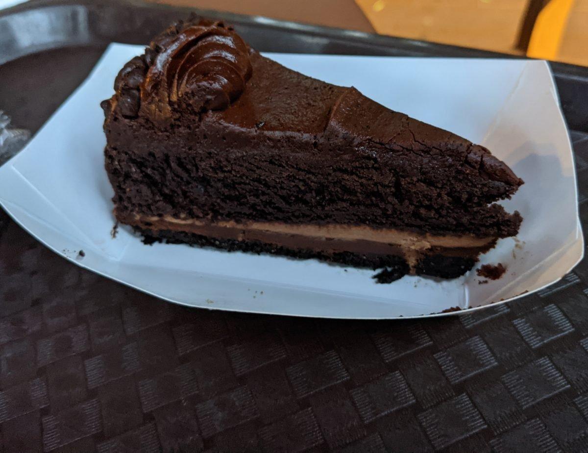 Busch Gardens theme in Williamsburg, Virginia has great desserts like this chocolate cake