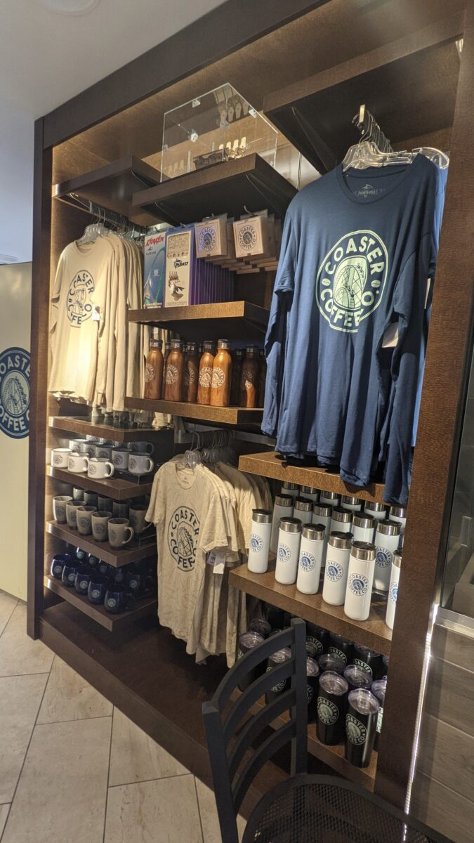 Buy Coaster Coffee themed shirts, water bottles, and more at SeaWorld theme park in Orlando, Florida
