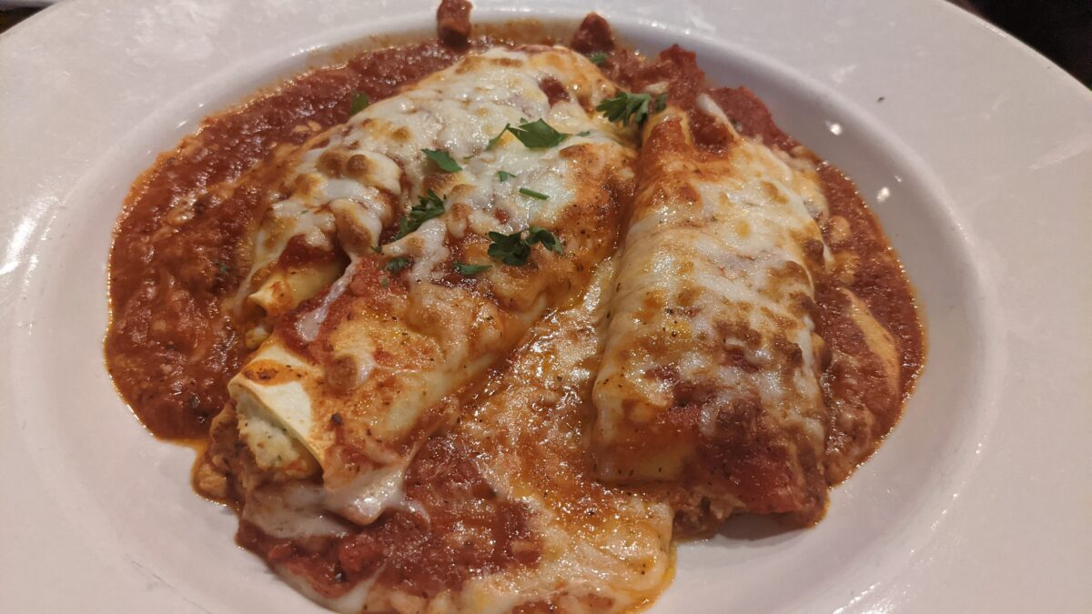 A picture of the Manicotti, one of the entrees at Milano's Italian Restaurant Pizza & Bar in Jacksonville, Florida