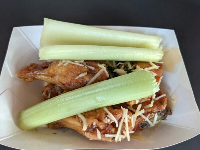 We recommend the Garlic-Parmesan Wings with Celery and Ranch at the Epcot Experience at the Walt Disney World Resort