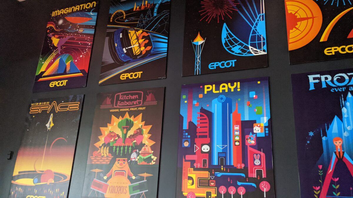Ride posters are on display at Brew-wing at the Epcot Experience at Disney World's Food & Wine Festival