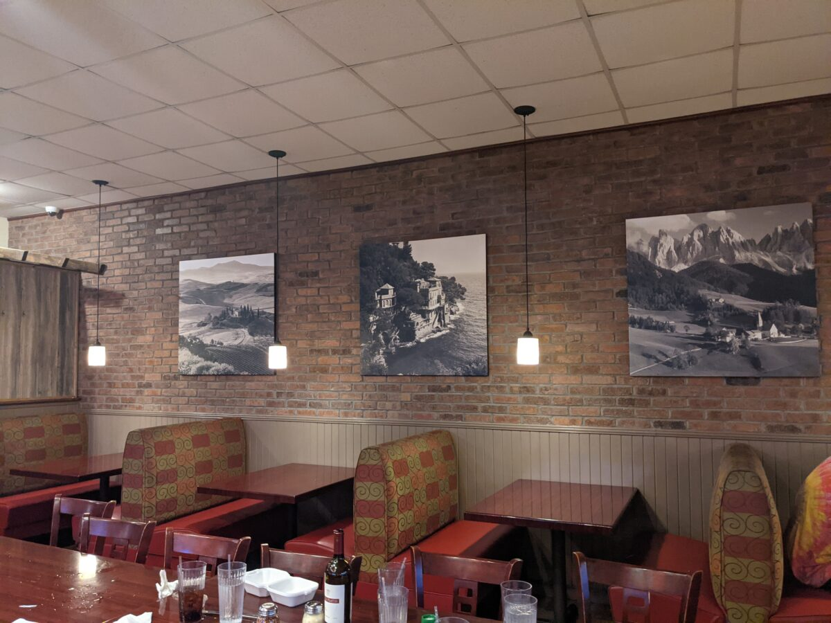 Pictures of Italy are part of the decor at Milano's in Jacksonville Beach, FL