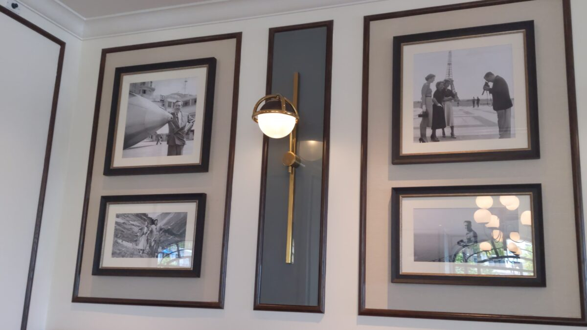 Disney's Riviera Resort in Orlando, Florida has a restaurant with Walt Disney in Europe pictures hanging up