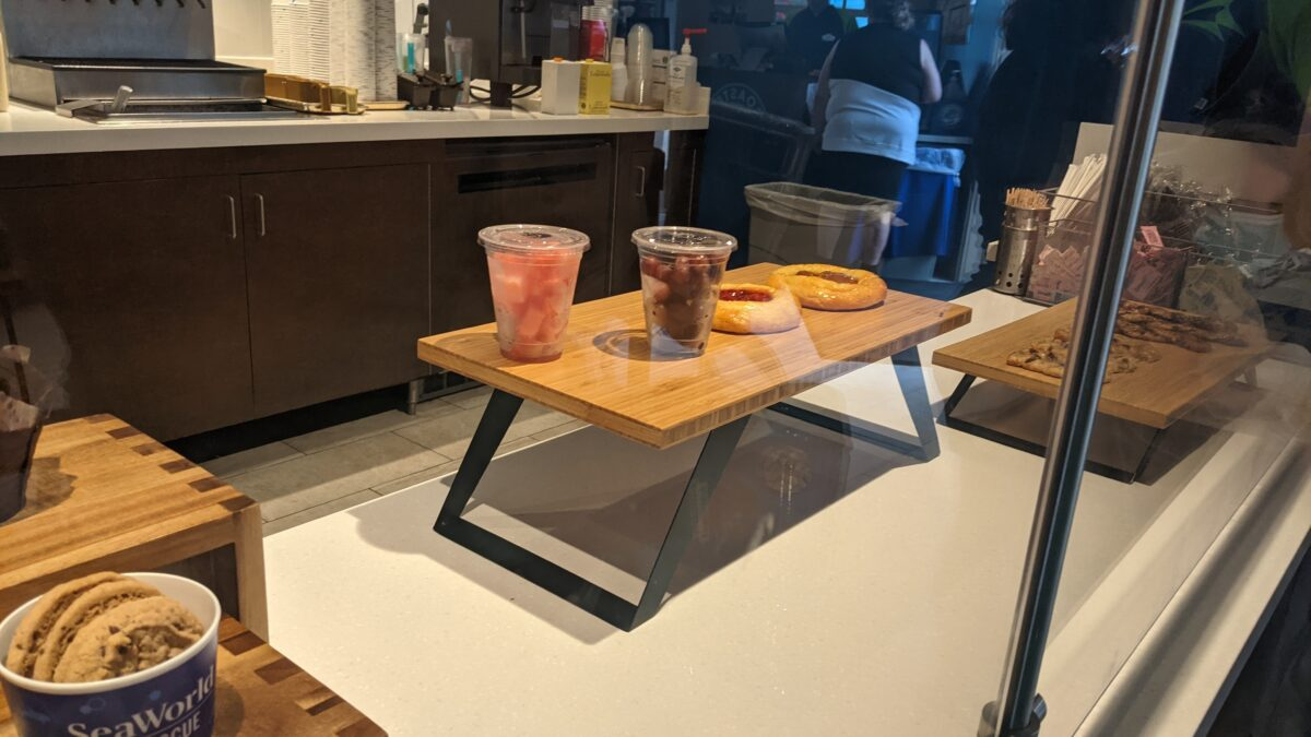 SeaWorld's Coaster Coffee Co. serves drinks and foods like fruit and cookies
