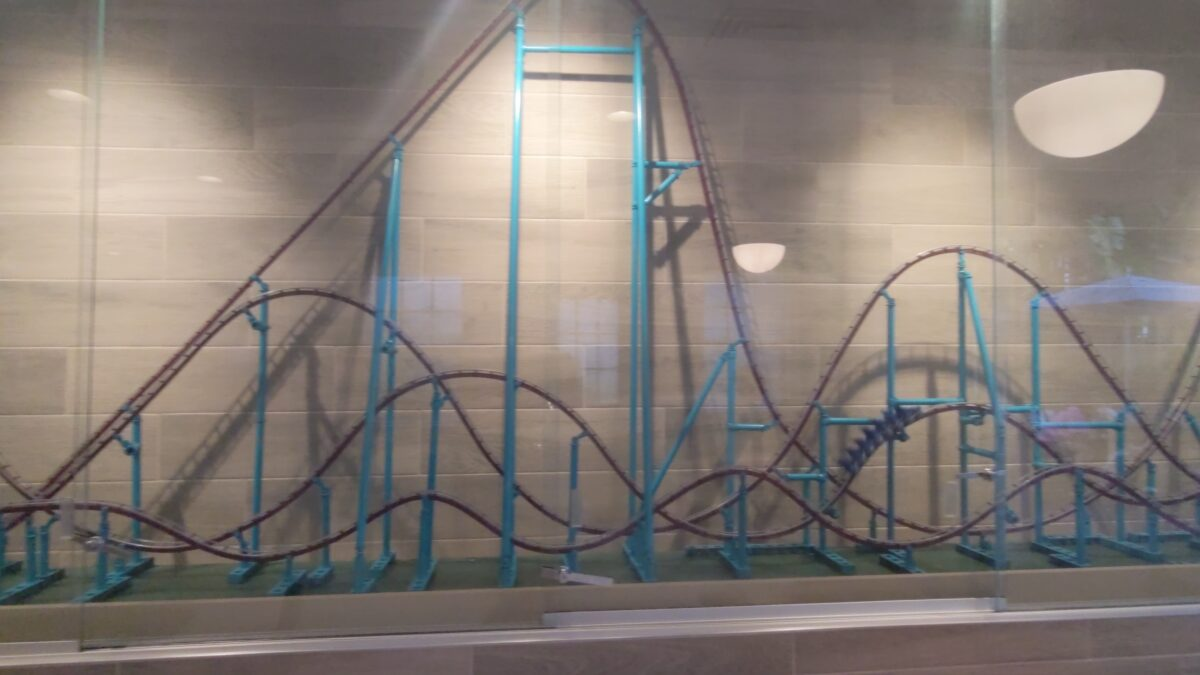Kids and adults will love watching the simulated roller coaster at Coaster Coffee Co. at SeaWorld theme park in Orlando, FL