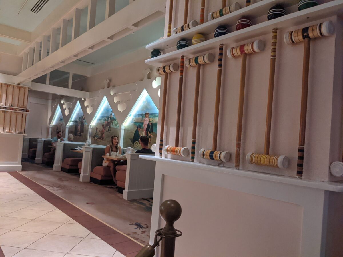 Cape May Cafe in Orlando, Florida has great decorations like croquet sets