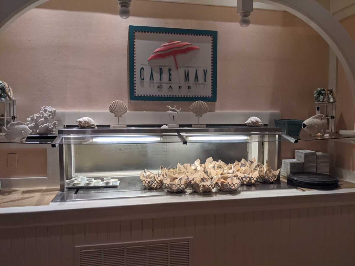 The buffet breakfast & brunch at Cape May Cafe at the Walt Disney World Resort starts with pastries