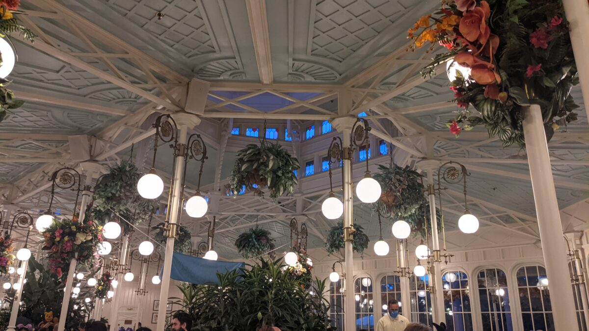 Beautiful flowers make up the decorations at Disney's Crystal Palace which is themed like a 1800s era Victorian greenhouse
