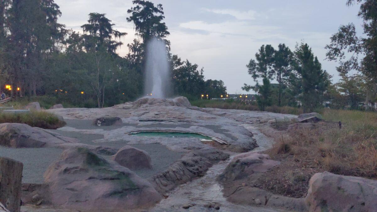 Geyser Point Bar & Grill has a great geyser spouting at Wilderness Lodge at Walt Disney World Resort in Orlando, FL