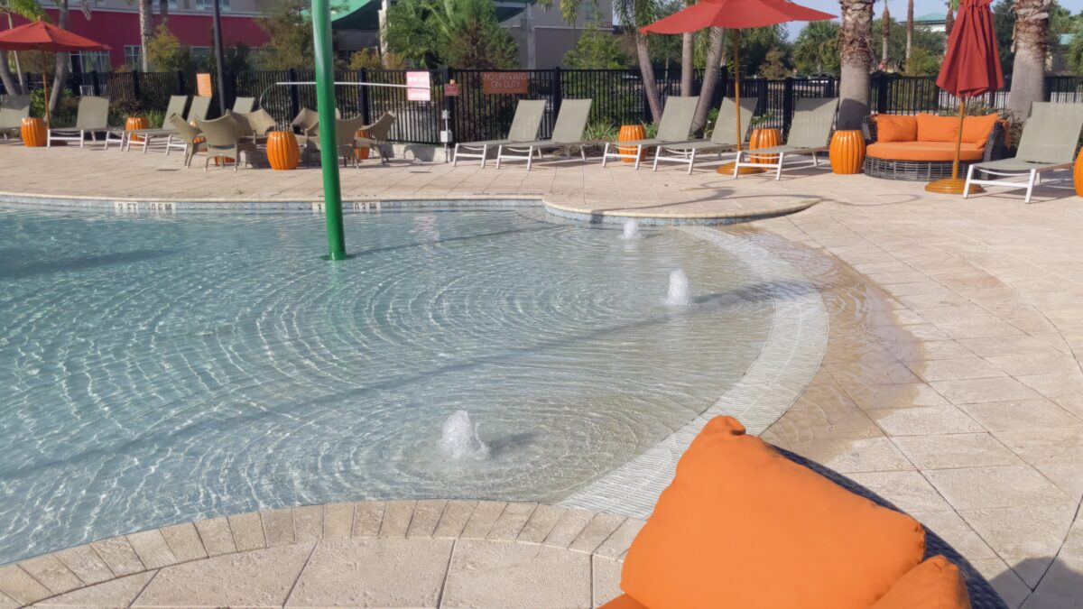 The pool is a great selling point of the affordable TownPlace Suites hotel in Orlando on International Drive