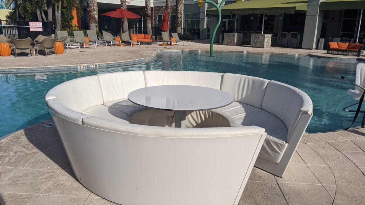 They have a great lounging area around the pool at TownPlace Suites hotel in Orlando, Florida on International Drive
