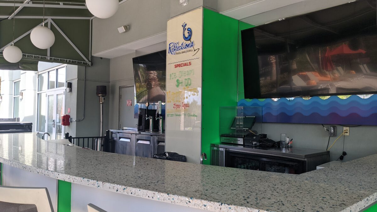 Get ice cream, mixed drinks & more at the pool bar restaurant at TownPlace Suites in Orlando, Florida across from SeaWorld theme park