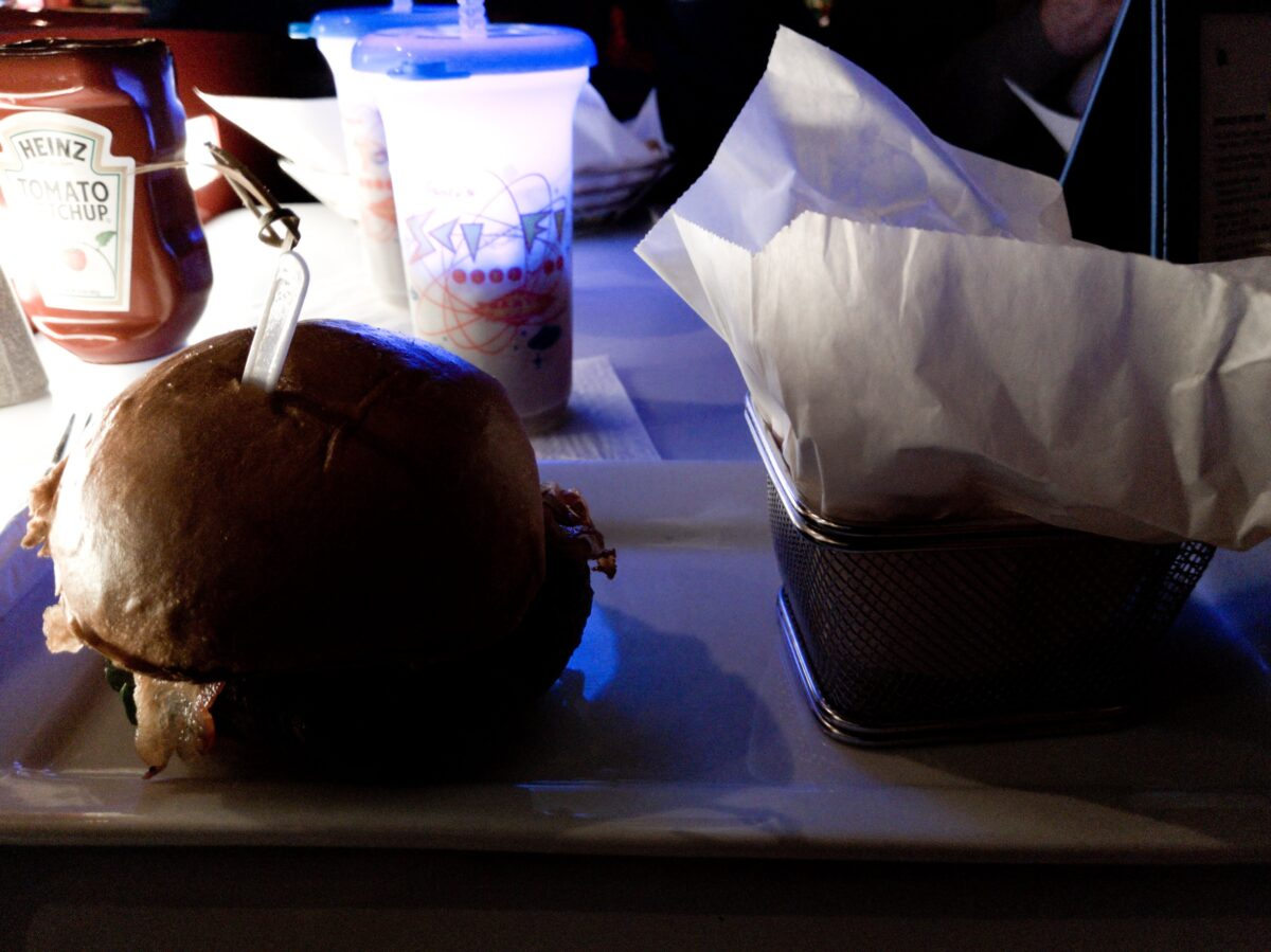 Burger & Souvenir Cup at Sci Fi Dine In Restaurant Orlando