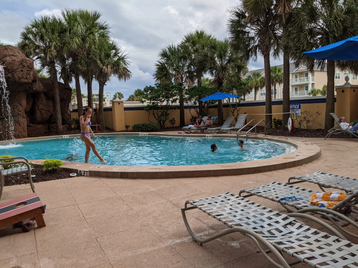 Relax at the pool when you're not in the ocean at Hampton Inn Jacksonville Beach/Oceanfront hotel