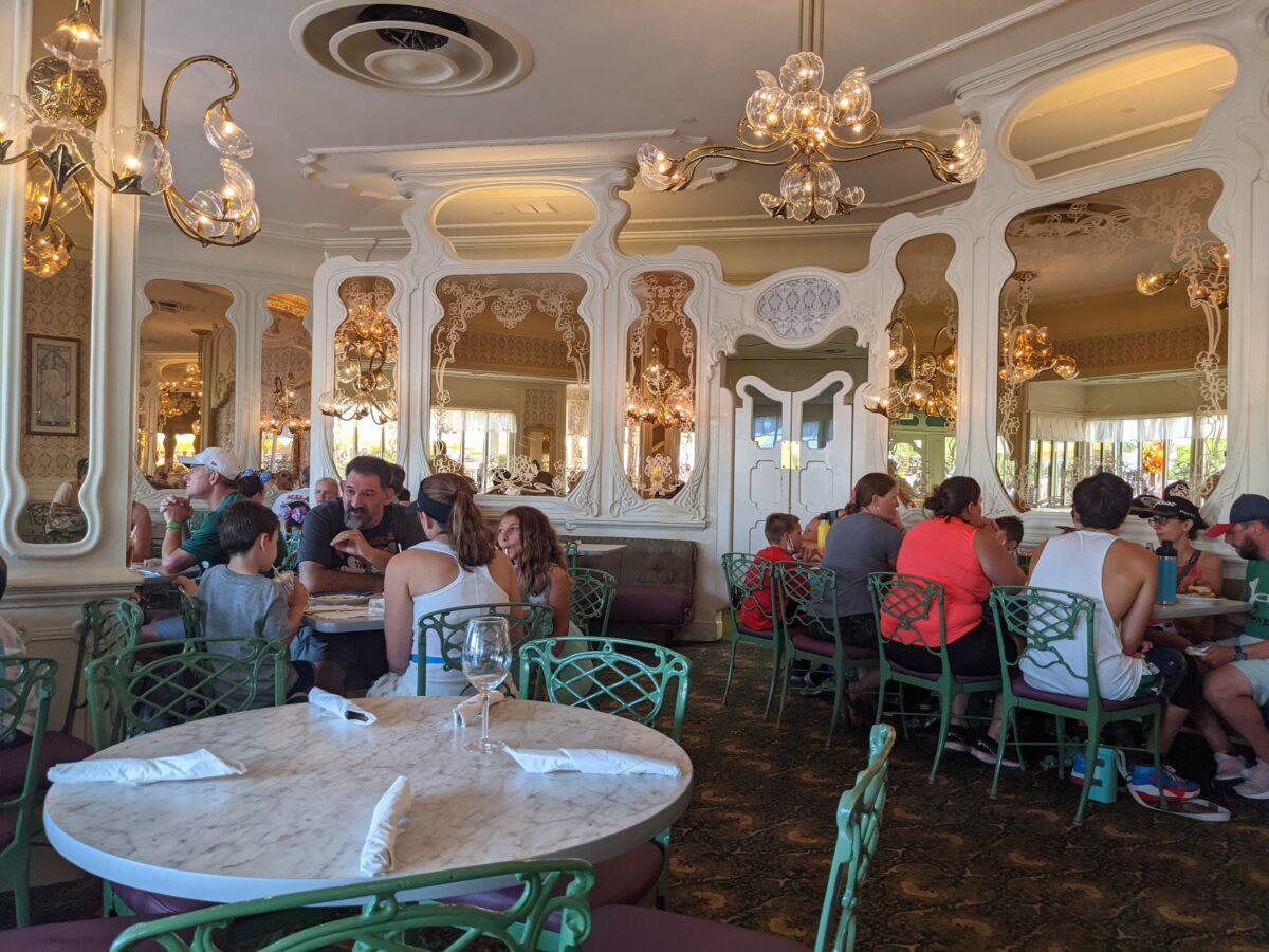 I love the chandeliers, mirrors and decor at Magic Kingdom's Plaza Restaurant in Orlando, FL