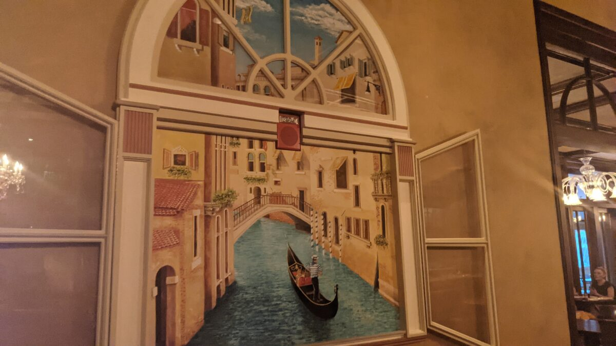 My family loved the Venice, Italy artwork at the Italian restaurant at Epcot at the Walt Disney World Resort in Orlando