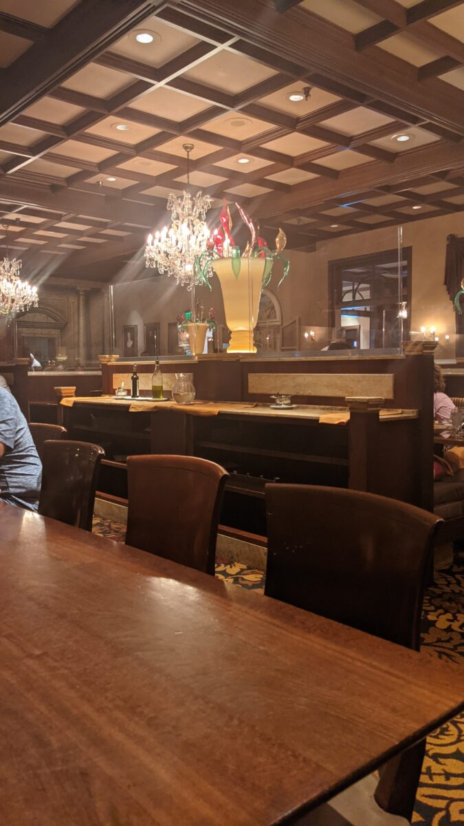 Epcot's Italian restaurant Tutto Italia has a luxurious but kid-friendly atmosphere and decor