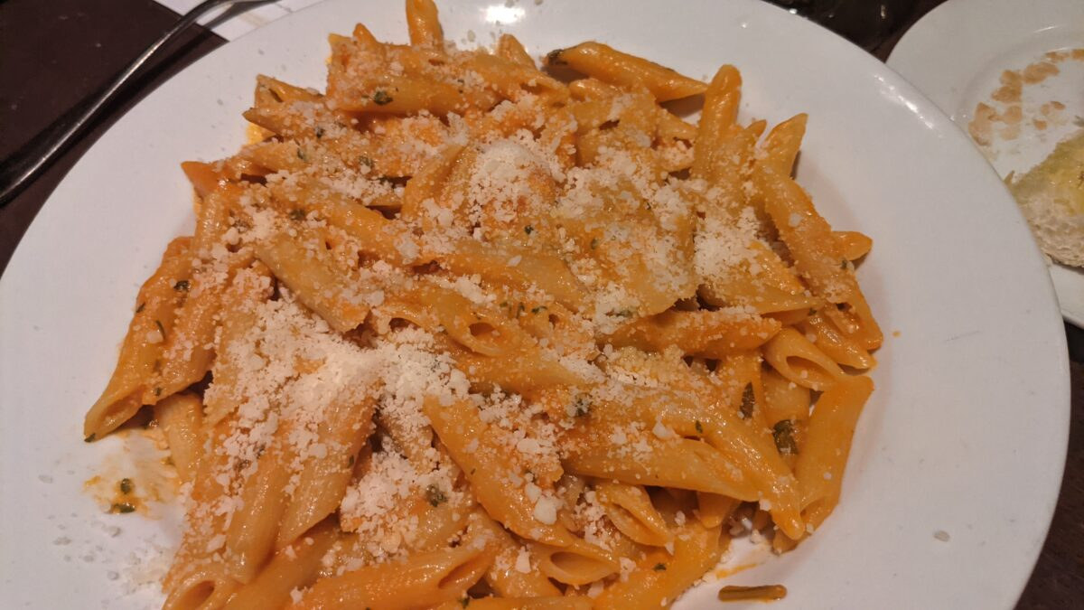 Penne alla Vodka is one of the Italian dishes you can get at the Italy Pavilion at the Walt Disney World Resort