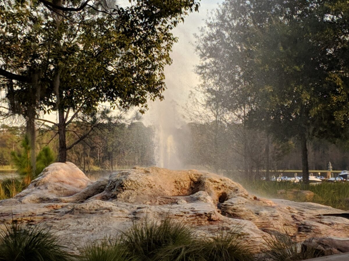 The Fire Rock geyser spurts out water every hour at Disney's Wilderness Lodge hotel in Orlando, FL