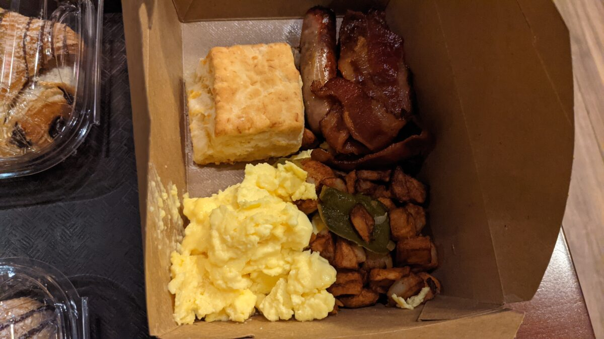 A picture of eggs and the breakfast at Roaring Fork quick service at Walt Disney World Resort in Orlando