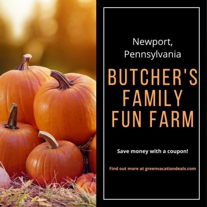Discount admission & free pumpkin for Butcher's Family Fun Farm & Corn Maze in Newport, PA
