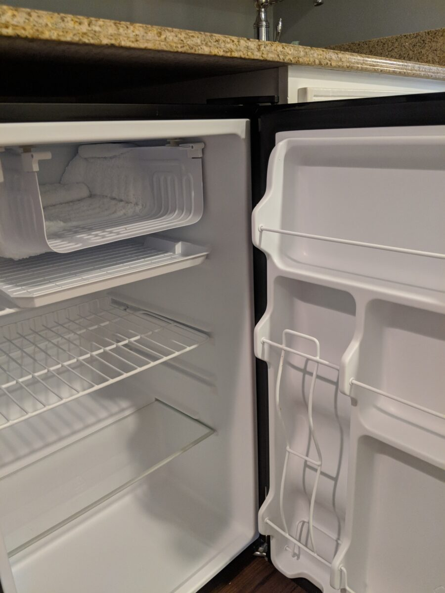A picture of the refrigerator in a studio villa at Beach Club at Disney World in Orlando, FL