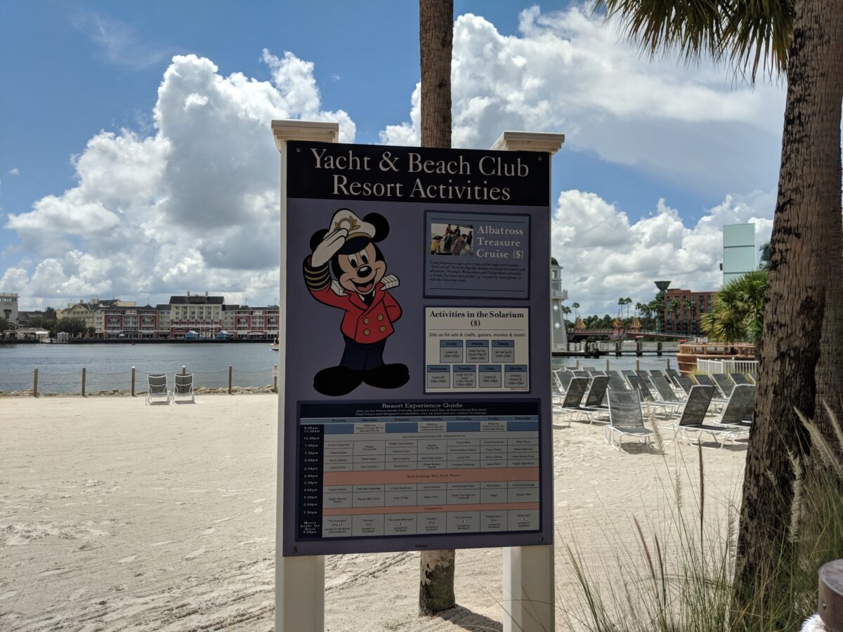 A list of recreational activities available at Beach Club at Disney World in Orlando, Florida
