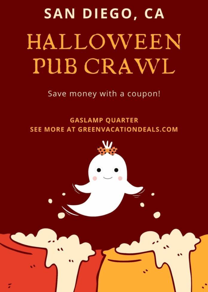 Discount ticket for Gaslamp Quarter Halloween Bar Crawl in San Diego, CA