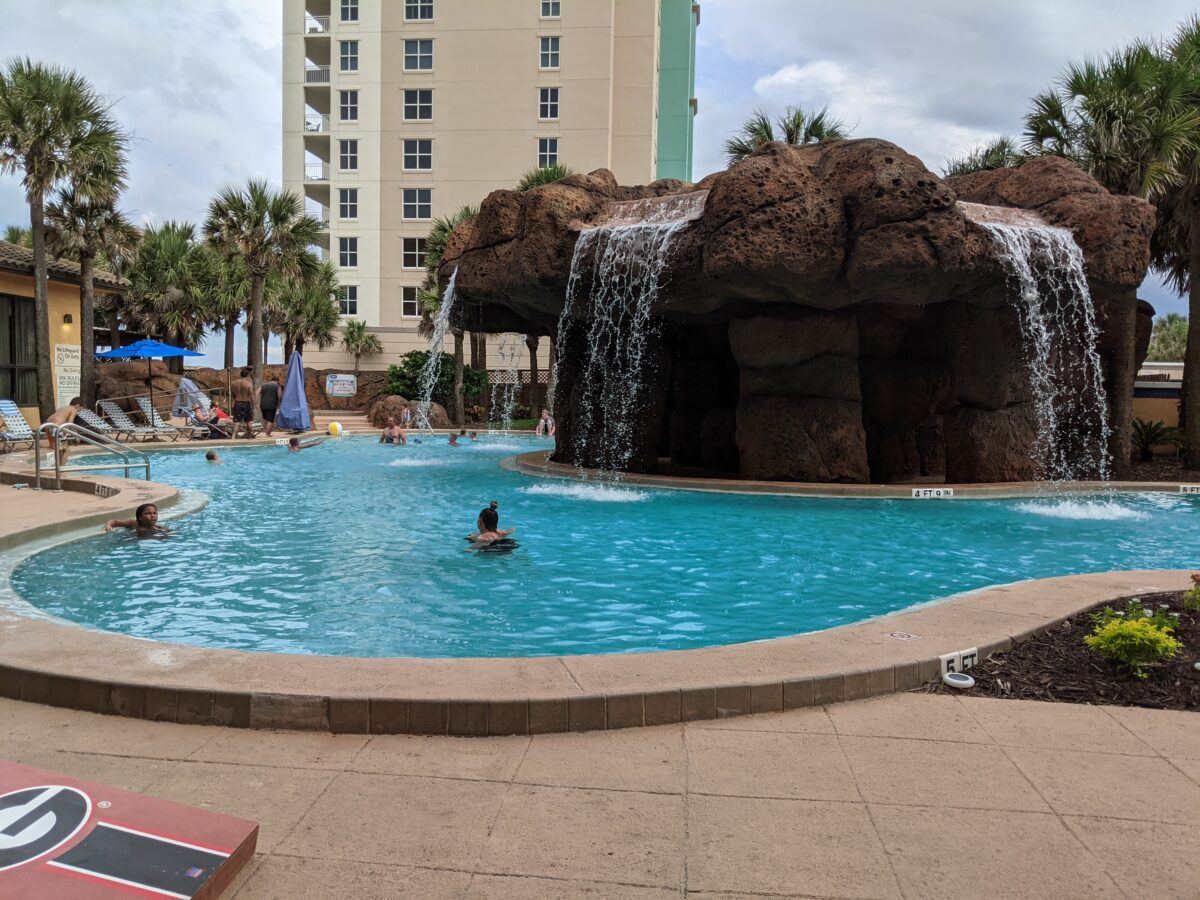 A picture of the pool and waterfalls at Hampton Inn Jacksonville Beach in Florida